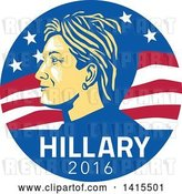 Vector Clip Art of Retro Profile Portrait of Hillary Clinton over 2016 Text in an American Flag Circle by Patrimonio