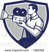 Vector Clip Art of Retro Profiled Camera Guy Filming in a Blue White and Gray Shield by Patrimonio