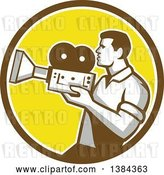 Vector Clip Art of Retro Profiled Camera Guy Filming in a Brown White and Yellow Circle by Patrimonio