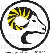 Vector Clip Art of Retro Profiled Dall Sheep Ram Head with Curling Horns in a Circle by Patrimonio