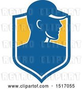 Vector Clip Art of Retro Profiled Male Worker Wearing a Hat in a Shield by Patrimonio