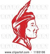 August 14th, 2018: Vector Clip Art of Retro Profiled Native American Indian Lady Woodcut in Red by Patrimonio