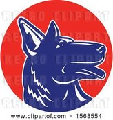 Vector Clip Art of Retro Profiled Woodcut Blue and White German Shepherd Dog in a Red Circle by Patrimonio