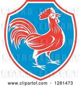 Vector Clip Art of Retro Profiled Woodcut Rooster in a Red White and Blue Shield by Patrimonio