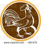 Vector Clip Art of Retro Profiled Woodcut Rooster in an Orange White and Brown Circle by Patrimonio