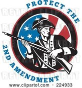 Vector Clip Art of Retro Protect the 2nd Amendment Text Around a Revolutionary War Soldier Holding a Rifle over an American Flag by Patrimonio