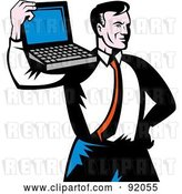 Vector Clip Art of Retro Proud Business Man Holding a Laptop on His Shoulder by Patrimonio