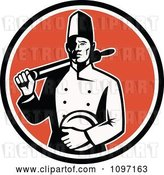 Vector Clip Art of Retro Proud Male Chef Holding a Plate and Rolling Pin over an Orange Circle by Patrimonio