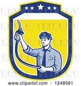 Vector Clip Art of Retro Pump Jockey Guy Holding up a Fuel Nozzle in a Shield by Patrimonio