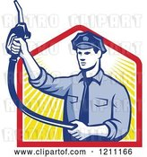 Vector Clip Art of Retro Pump Jockey Holding up a Fuel Nozzle over Rays by Patrimonio