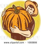 Vector Clip Art of Retro Pumpkin Farmer Carrying a Big Gourd by Patrimonio