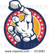 Vector Clip Art of Retro Punching Boxer over a Circle of Orange and Stars by Patrimonio