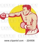 Vector Clip Art of Retro Punching Boxer over a Yellow Circle Logo by Patrimonio