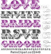 Vector Clip Art of Retro Purple and Swirls Letters and Marriage Words by BestVector