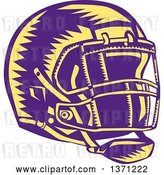 Vector Clip Art of Retro Purple and Yellow Woodcut American Football Helmet by Patrimonio