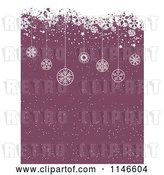 Vector Clip Art of Retro Purple Christmas Snow Background with Grunge and Hanging Ornaments by KJ Pargeter