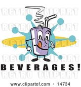Vector Clip Art of Retro Purple Cup Holding Fountain Soda and a Straw by Andy Nortnik