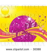 Vector Clip Art of Retro Purple Disco Ball Surrounded by Silhouetted Pink People, Flowers and Palm Trees with an Airplane and Butterflies on a Yellow Background by Elaineitalia