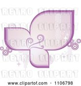 Vector Clip Art of Retro Purple Frame with Flourishes Circles Sparkles and Halftone by Amanda Kate