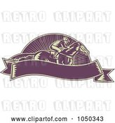 Vector Clip Art of Retro Purple Jockey and Banner by Patrimonio