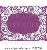 Vector Clip Art of Retro Purple Swirl Floral Frame by BNP Design Studio