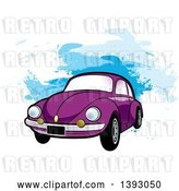 Vector Clip Art of Retro Purple VW Slug Bug Car over Blue Paint Strokes by Lal Perera