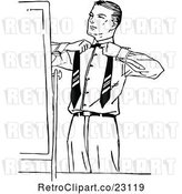 Vector Clip Art of Retro Putting on a Tie by Prawny Vintage