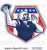 Vector Clip Art of Retro Quaterback American Football Player Throwing over a Patriotic Crest Shield by Patrimonio