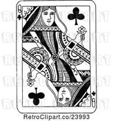 Vector Clip Art of Retro Queen of Clubs Playing Card by Prawny Vintage