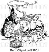 Vector Clip Art of Retro Rabbit Cooking by Prawny Vintage