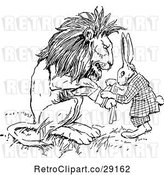 Vector Clip Art of Retro Rabbit Patching up a Lions Paw by Prawny Vintage