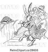 Vector Clip Art of Retro Rabbit Playing a Fiddle by Prawny Vintage