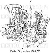 Vector Clip Art of Retro Rabbit Smoking a Pipe and Lady Knitting by Prawny Vintage