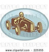 Vector Clip Art of Retro Race Car Driver on a Blue Oval Logo by Patrimonio