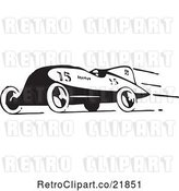 Vector Clip Art of Retro Race Car Speeding to the Left by BestVector