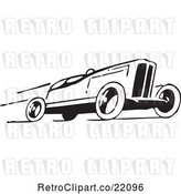Vector Clip Art of Retro Race Car Speeding to the Right by BestVector