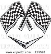 Vector Clip Art of Retro Racing Flags over a Chevron Symbol by Patrimonio