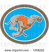 Vector Clip Art of Retro Racing Greyhound Dog in an Oval by Patrimonio