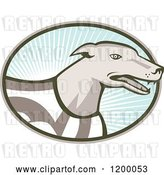 Vector Clip Art of Retro Racing Greyhound Dog in an Oval of Rays on Blue by Patrimonio