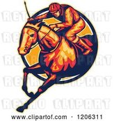 Vector Clip Art of Retro Racing Jockey and Horse Leaping Through a Circle by Patrimonio