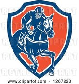 Vector Clip Art of Retro Racing Jockey in a Blue White and Orange Shield by Patrimonio