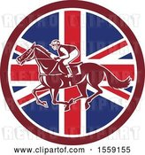 Vector Clip Art of Retro Racing Jockey in a British Flag Circle by Patrimonio