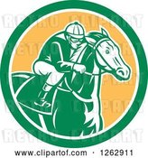 Vector Clip Art of Retro Racing Jockey in a Green White and Yellow Circle by Patrimonio
