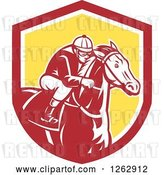 Vector Clip Art of Retro Racing Jockey in a Red White and Yellow Shield by Patrimonio