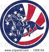 Vector Clip Art of Retro Racing Jockey in an American Flag Circle by Patrimonio