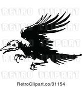 Vector Clip Art of Retro Ragged Raven by Prawny Vintage