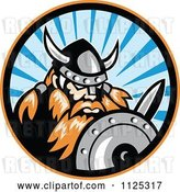 Vector Clip Art of Retro Raider Barbarian Viking Warrior with a Shield and Sword in a Ray Circle by Patrimonio