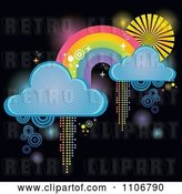 Vector Clip Art of Retro Rainbow with Clouds and Pixel Trails on Black by Amanda Kate