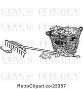 Vector Clip Art of Retro Rake and Basket of Autumn Leaves by Prawny Vintage