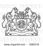 Vector Clip Art of Retro Rampant Lion and Unicorn Flanking a Lion Shield over a Banner, Woodcut by AtStockIllustration